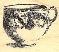 Victorian Rose Teacup Wood Mounted Rubber Stamp Impression Obsession NEW