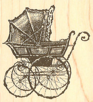Vintage Baby Carriage Buggy Wood Mounted Rubber Stamp Impression Obsession NEW