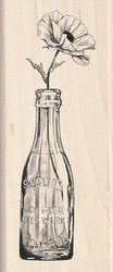 Vintage Bottle With Flower Wood Mounted Rubber Stamp by Inkadinkado 60-00457 NEW