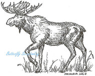 Walking Moose Wildlife Wood Mounted Rubber Stamp Northwoods Rubber Stamp New
