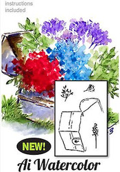 Water Color Chest Flowers Wood Mounted Rubber Stamp Set Art Impressions 4596 NEW