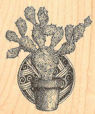 Western Cactus With Plate Wood Mounted Rubber Stamp Impression Obsession NEW