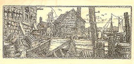 WIDE PIER BOAT DOCK Wood Mounted Rubber Stamp Impression Obsession J1990 NEW