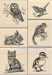 WILDLIFE FRIENDS Wood Mounted Rubber Stamp Set Iinkadinkado 60-10143 NEW