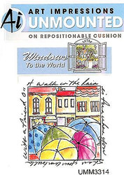 Windows To The World Cling Unmounted Rubber Stamp Art Impressions UMM3314 NEW