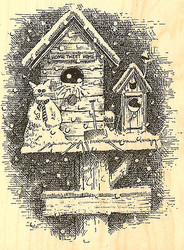 Winter Birdhouse Wood Mounted Rubber Stamp Impression Obsession G1645 NEW