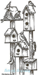 Winter Birdhouses & Birds Wood Mounted Rubber Stamp NORTHWOODS O8881 New