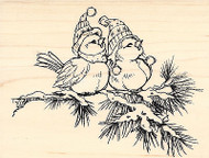 Winter Birds on Pine Branch Wood Mounted Rubber Stamp STAMPENDOUS Stamp R180 New