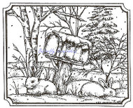 WINTER Bunny Mailbox Trees Snow Wood Mounted Rubber Stamp NORTHWOODS M9355 New