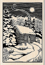 Winter Eve Cabin Scene Wood Mounted Rubber Stamp by INKADINKADO 60-01005 NEW