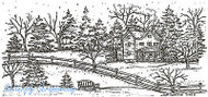 Winter House Bench Scene Wood Mounted Rubber Stamp Northwoods Rubber Stamp New