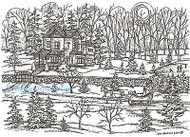 Winter House Sleigh Scene Wood Mounted Rubber Stamp Northwoods Rubber Stamp New