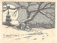 Winter Night Wood Mounted Rubber Stamp IMPRESSION OBSESSION Snow Church Moon New