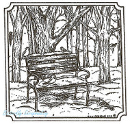 Winter Park Bench Birds Wood Mounted Rubber Stamp Northwoods Rubber Stamp New