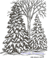 Winter Pines & Bare Tree Scene Wood Mounted Rubber Stamp NORTHWOODS M9359 New