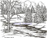 Winter Pines & Stream Scene Wood Mounted Rubber Stamp NORTHWOODS P9354 New