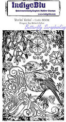Winter Robin Cling Unmounted Rubber Stamp Mixed Media Art IndigoBlu Stamp NEW