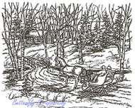 Winter Sleigh Scene Grandma House Wood Mounted Rubber Stamp NORTHWOODS P2919 New