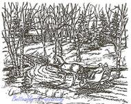 Winter Sleigh Scene Grandma House Wood Mounted Rubber Stamp NORTHWOODS P2919 New