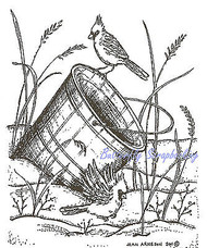 Winter Snow Pail Cardinal Birds Wood Mounted Rubber Stamp NORTHWOODS M8285 New