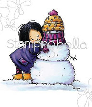 WINTER SNOWMAN & GIRL Cling Unmounted Rubber Stamp Stamping Bella MO184 NEW