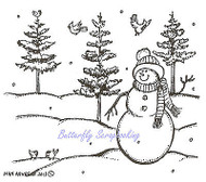 Winter Snowman Pine Trees & Birds Wood Mounted Rubber Stamp NORTHWOODS F9267 New