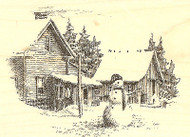 Winter Snowman Scene, Wood Mounted Rubber Stamp IMPRESSION OBSESSION- NEW, H1284