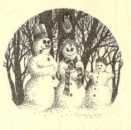 Winter Snowman Snow Family Wood Mounted Rubber Stamp Impression Obsession NEW