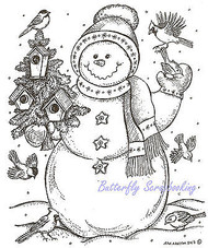 Winter Snowman with Birdhouses Wood Mounted Rubber Stamp NORTHWOODS P9297 New
