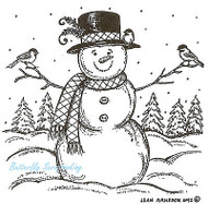 Winter Snowman With Chickadees, Wood Mounted Rubber Stamp NORTHWOODS- NEW, M8878