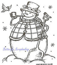 Winter Snowman with Pipe & Shovel Wood Mounted Rubber Stamp NORTHWOODS F8237 New