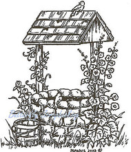 Wishing Well With Bird And Flowers, Wood Mounted Rubber Stamp NORTHWOODS - M3328