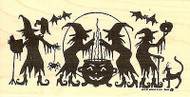 Witches Brewing Silhouette, Wood Mounted Rubber Stamp NORTHWOODS - NEW, O8097