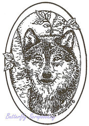 Wolf Forest Oval Wood Mounted Rubber Stamp NORTHWOODS Stamp M1741 New