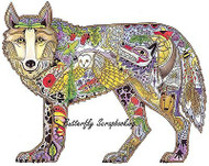 WOLF STAND Animal Spirit Cling Unmounted Rubber Stamp EARTH ART Sue Coccia New