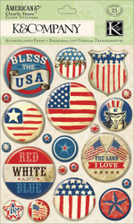 Americana Bless the USA Clearly Yours Epoxy Scrapbook Stickers K&Company NEW