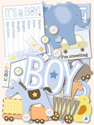 Baby Boy Scrapbook DIE CUTS 144 Pieces Itsy Bitsy Baby Boy K&Company NEW