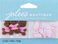 Baby Girl Bear And Booties EK SUCCESS Non-Adhesive Embellishments NEW 11 Pieces