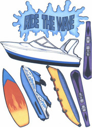 Boating Ride The Wave Scrapbook Die Cuts Quick Cropper Cuts Outdoors & More NEW