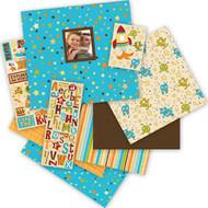 Boy Teal Blue & Brown Stars 12x12 Scrapbooking Album Kit 76 pieces K&Company New