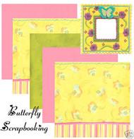 BUTTERFLY FABRIC ART 12X12 Scrapbooking Kit K&Company New