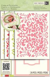 CARD KIT Beyond Postmarks Demask Floral Create 8 Cards & Envelopes K&Company NEW