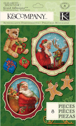 CHRISTMAS Visions Of Christmas Santa 3D Scrapbook Stickers K&Company NEW