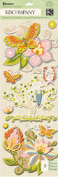 Edamame Butterfly & Flowers 3D Scrapbook Stickers K&Company NEW