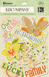 EDAMAME Flowers & Butterflies & Words Scrapbook DIE CUTS 168 Piece K&Company NEW