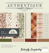 Fall GRATEFUL Collection 6x6 Scrapbooking Paper Crafting Pad Authentique NEW