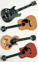 Guitars, Scrapbooking Dimensional Stickers by LITTLE B, NEW - 4 Pieces, 100315