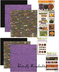 HALLOWEEN Collection 12x12 Scrapbooking Kit BoBunny Papers Brads Ribbon Stickers