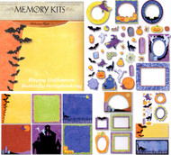 Halloween Night 12X12 Scrapbooking Kit Memory Kit W Glitter & Gems 59 Pieces NEW