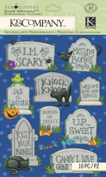 Halloween Tombstones 3D Scrapbook Stickers Tim Coffey by K&Company New